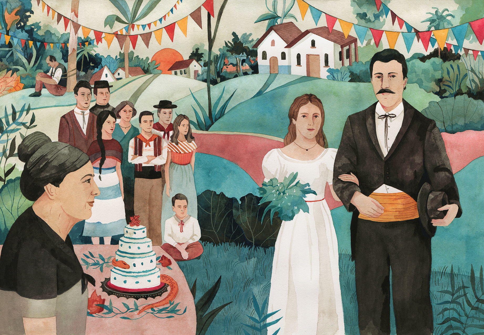 Familia Buendía. Ilustración de Luisa Rivera