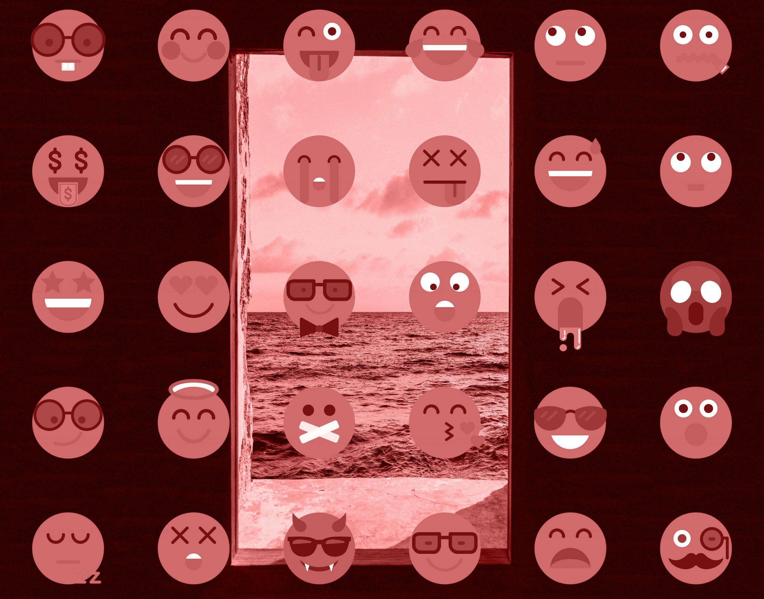 Emoticonos sobre una imagen de una ventana abierta al mar