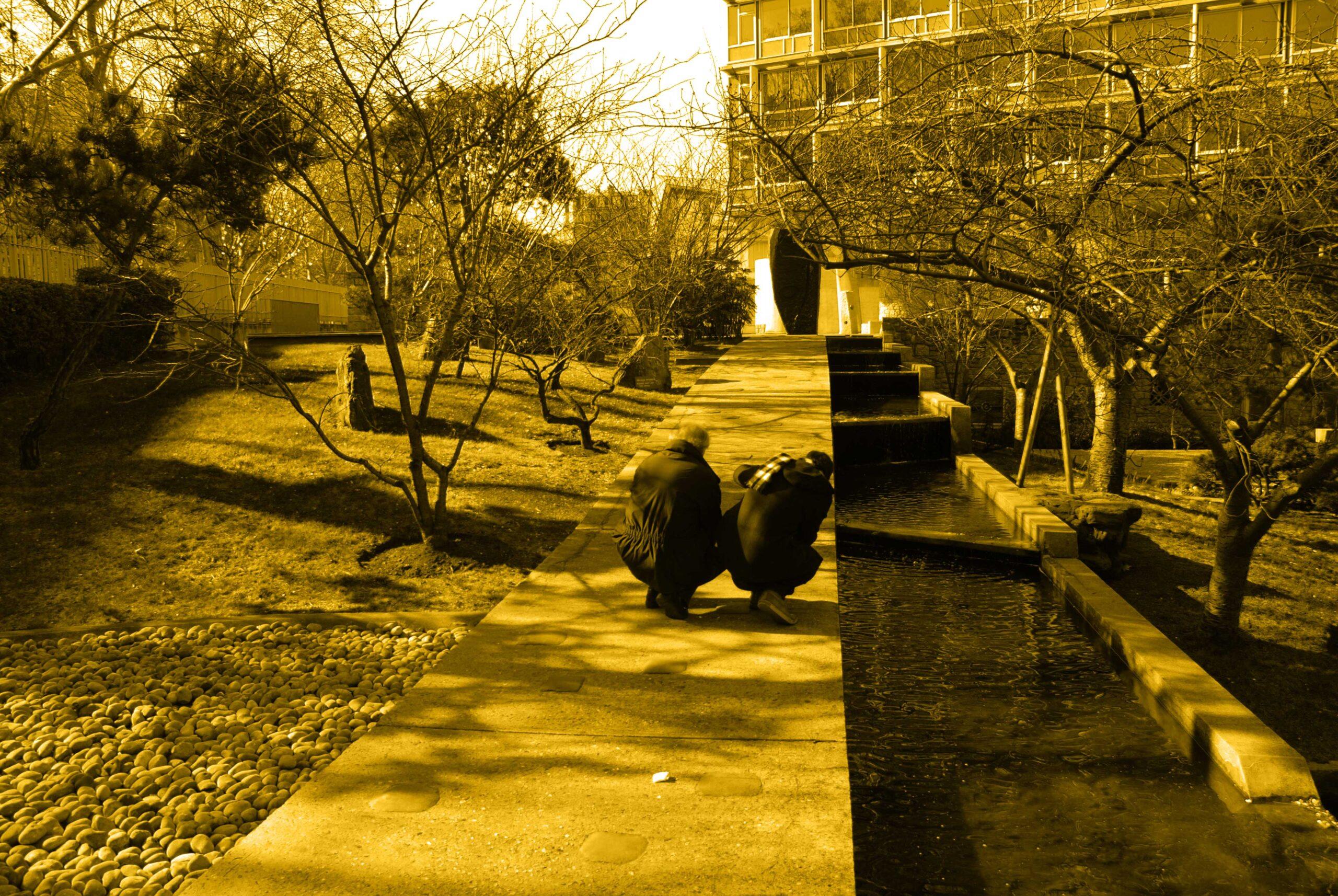 Imajen del paseo centra del jardin con la escultura al fondo