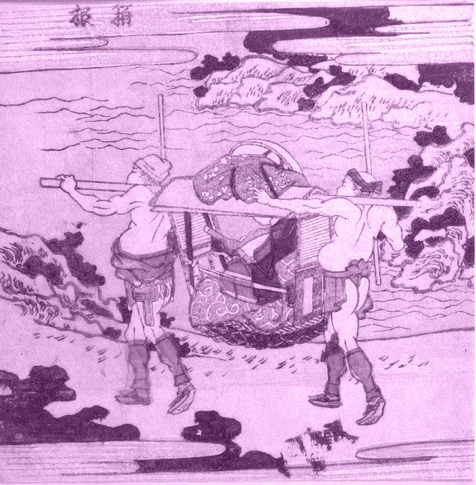 Grabado clasico japones de un palanquin